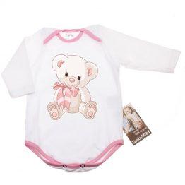 Бебешко боди Мече с дълъг ръкав в бяло и розово