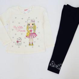 тънък детски комплект за дете момиче блуза с клин есен пролет