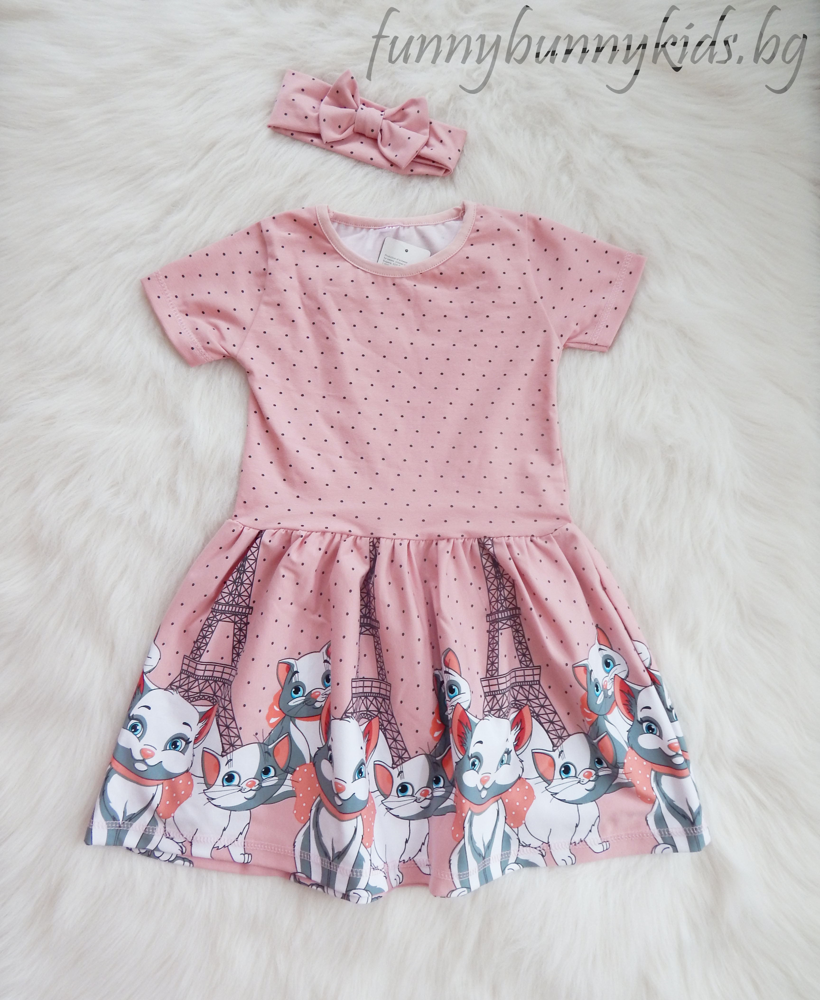 """bc444add1ee Детска лятна рокля с лента за коса """"Котето Мари"""" (104-122) (4-7г ..."""
