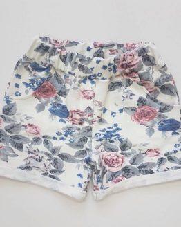 къси памучни панталои за момиче с десен на рози