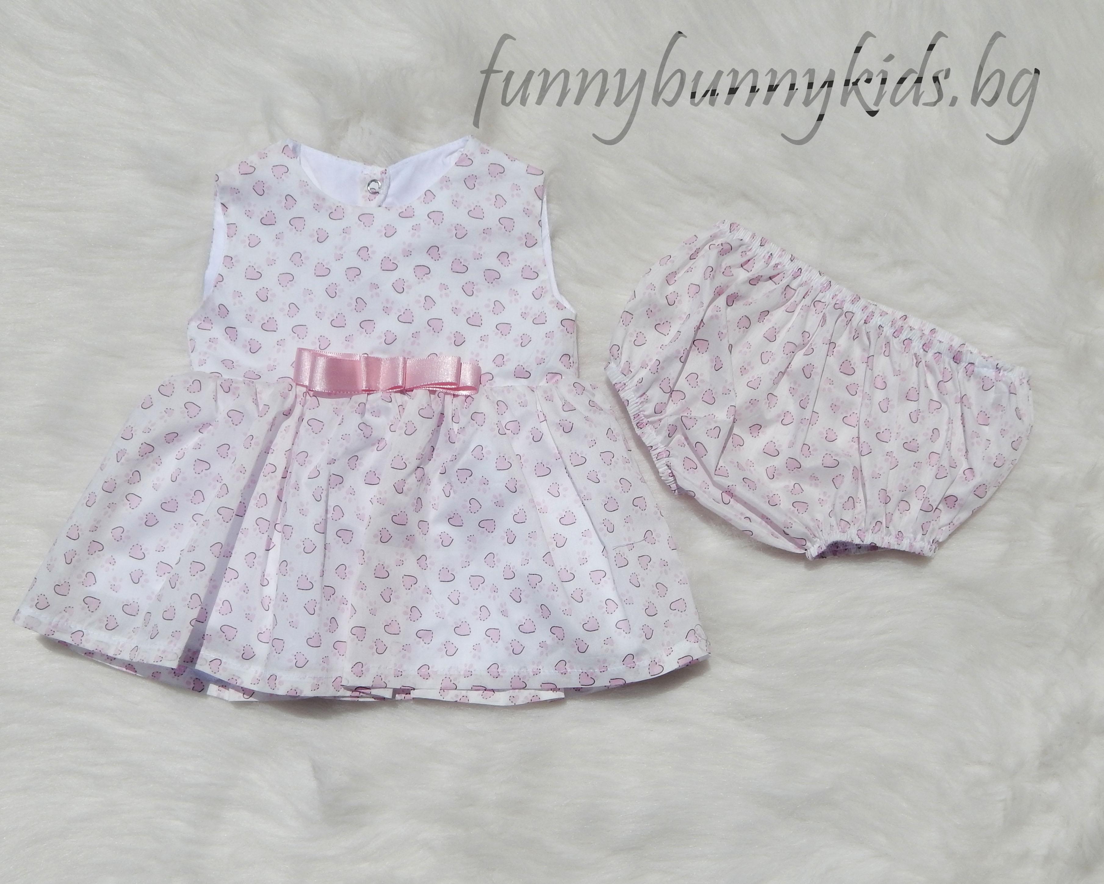 63e20313f75 Лятна рокля за бебе момиче с гащички (56, 62, 68) – FUNNY BUNNY KIDS