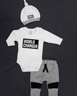 https://funnybunnykids.bg/wp-content/uploads/2019/01/51236077_619979658436675_4498098994035032064_o-1.jpg комплект за бебе момче от три части с надпис World Changer