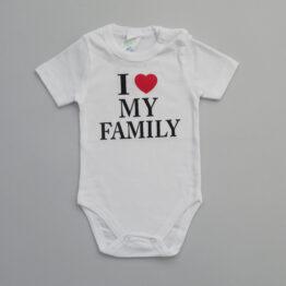 боди с къс ръкав за бебе с надпис аз обичам моето семейство