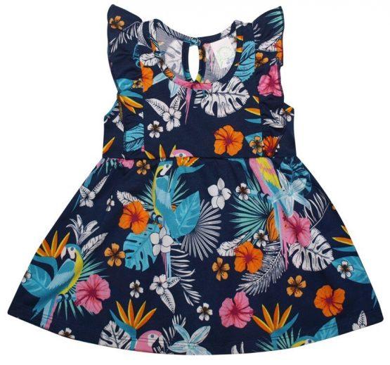 https://funnybunnykids.bg/wp-content/uploads/2019/04/56887069_656521221449185_6189543628726075392_n.jpg лятна детска рокля за момиче в син цвят с тропически детсен