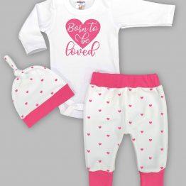 https://funnybunnykids.bg/wp-content/uploads/2020/01/80449890_823307804770525_3704405328545185792_o.jpg зимен комплект от три части за бебе момиче ританки боди шапка надпис сърца