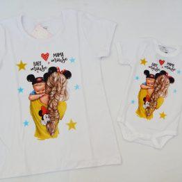 Комплект мама и бебе от тениска и боди с къс ръкав тесниска и боди мама и бебе с надпис