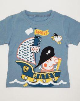 детска тениска в сив цвят пепа пиг джордж пиг