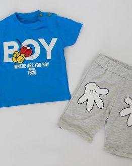 летен детски комплект за момче с Мики Маус тениска и къси панталонки