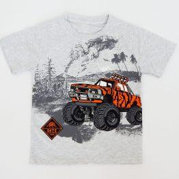 тениска за момче с джип сиво и оранжево