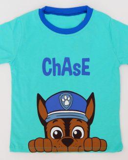 тениска за момче с пес патрул чейс тюркоазен цвят
