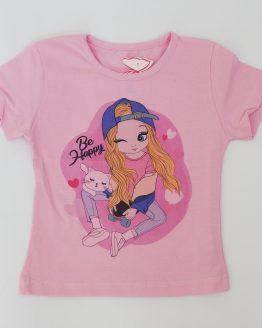тениска лятна блуза за момиче розова тениска за момиче