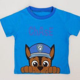 тениска с Чейс за момче Пес патрул синя
