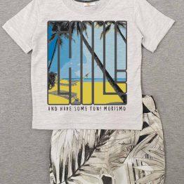 летен детски комплект за бебе момче тениска с къси панталонки и палми