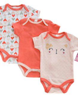 комплект сет от три бебешки бодита с къс ръкав за бебеб момиче 3 до 6 месеца три до шест месеца