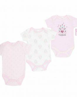 комплект от три бебешки бодита с къс ръкав за бебе момиче с десен на замъци