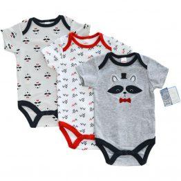комплект от три броя бебешки бодита за бебе момче с къси ръкави индянски стил