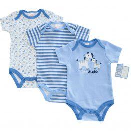 комплект от три бебешки бодита с къс ръкав за бебе момче