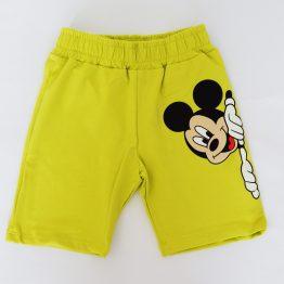 летни къси панталони за момче с Мики Маус в жълто зелен цвят