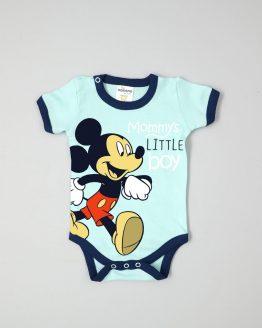 лятно бебешко боди с къс ръкав за бебе момче в син цвят с Мики Маус и надпис