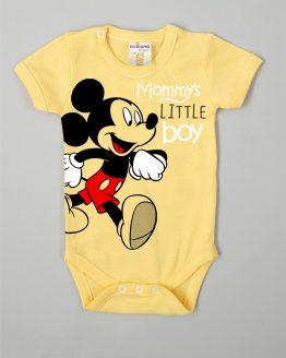 бебешко боди с къс ръкав и щампа на Мики Маус в жълт цвят лятно боди за бебе момче с къс ръкав