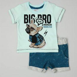 детски летен комплект за бебе момче тениска и къси панталони с къче