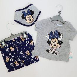 комплект за бебе момиче с мини маус бандан тениска клин къси панталони