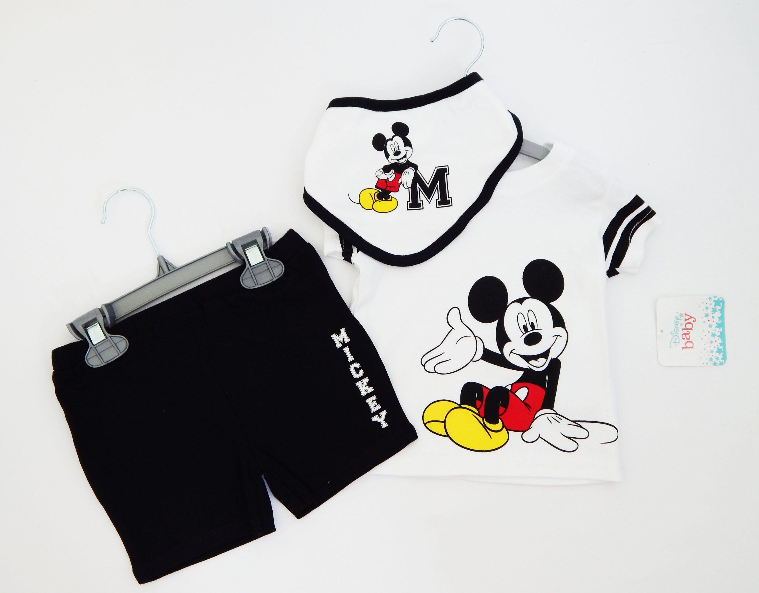комплект за бебе момче с мики маус три части бандан тениска къси панталони