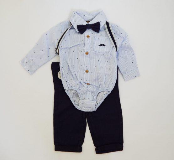 официален комплект с папионка и тиранти за бебе момче тъмносин панталон риза бодириза