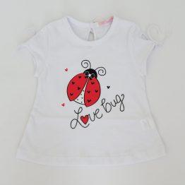 тениска за момиче в бяло с калинка бебе дете момиче