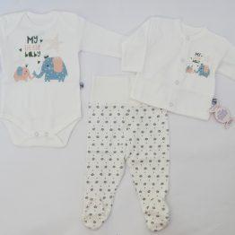 комплект за бебе от три части от боди ританки и елече