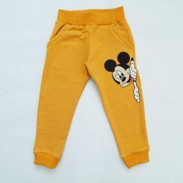 детски панталон долнище анцуг за момче с Мики Маус жълт лека вата