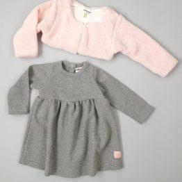 зимна рокля за бебе момиче с болеро в розово и сиво