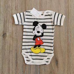 бебешко боди с къс ръкав за бебе момче с Мики райе