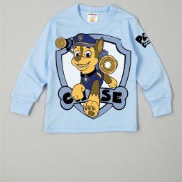 тънка блуза за момче с дълъг ръкав за момче в син цвят с куче