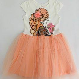 детска лятна ежедневна рокля за момиче с тюл в прасковен цвят