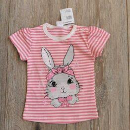 детска тениска със зайче в розово райе за бебе момиче