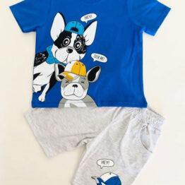летен детски комплект с кученца тениска с куче
