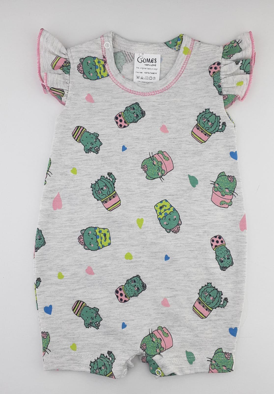 летен гащеризон ромпър с къси ръкави за бебе момиче с кактуси