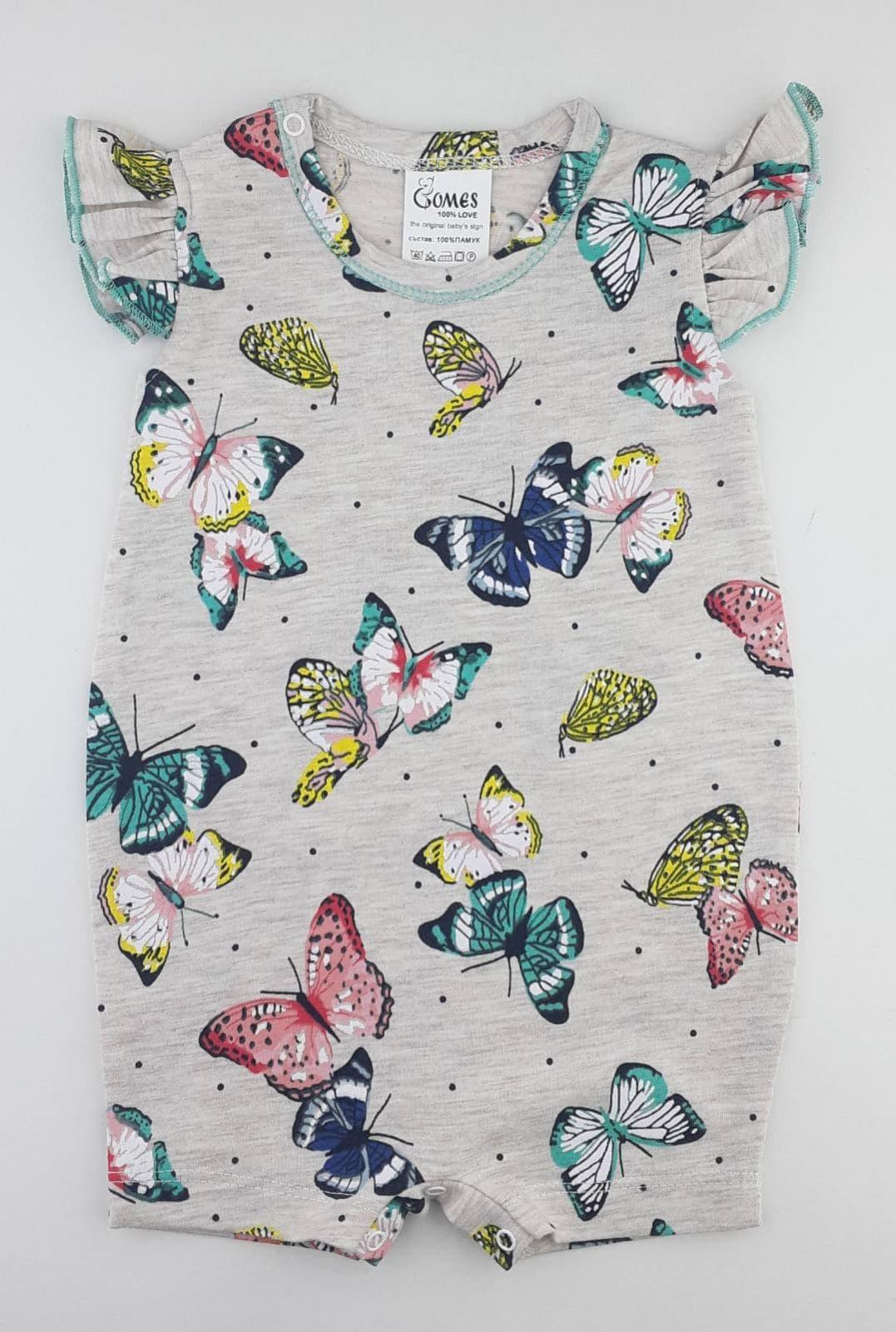 летен гащеризон ромпър за бебе момиче с пеперуди